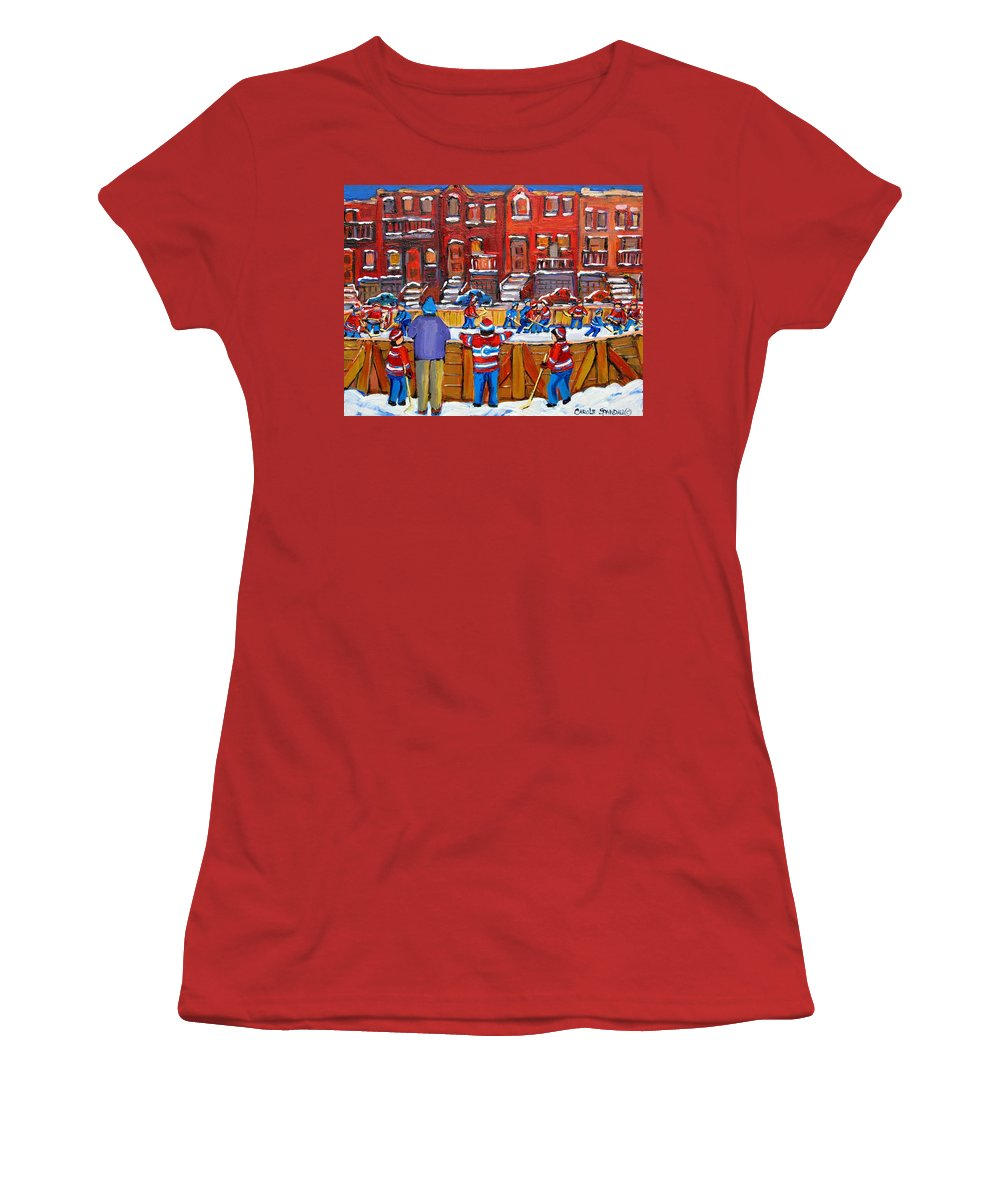 Hockeygame At The Neighborhood Rink Women's T-Shirt (Athletic Fit) featuring the painting Neighborhood Hockey Rink by Carole Spandau