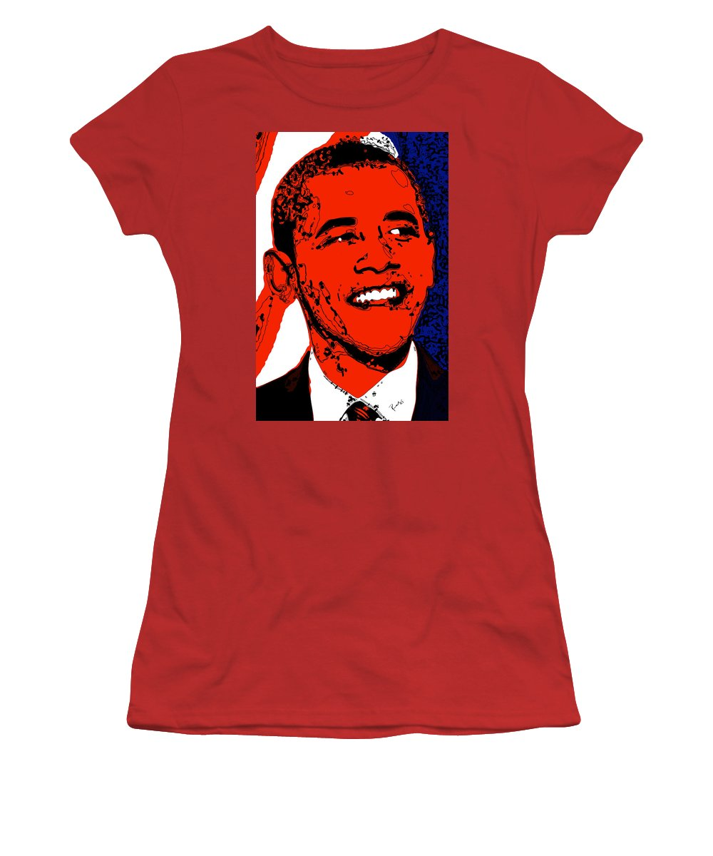 African Women's T-Shirt (Athletic Fit) featuring the digital art Obama Hope by Rabi Khan