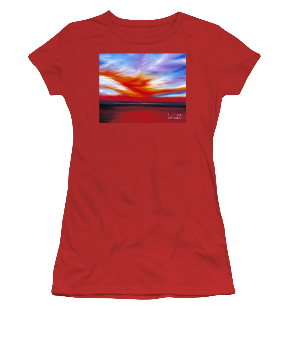 Seascape Women's T-Shirt (Athletic Fit) featuring the painting October Sky II by James Christopher Hill