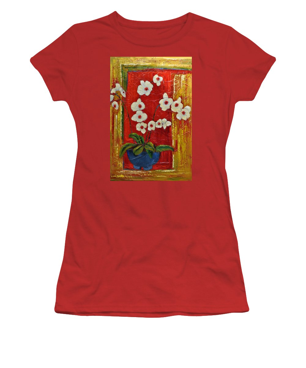 Orchids Women's T-Shirt (Athletic Fit) featuring the painting Ode To Orchids by Ginger Concepcion