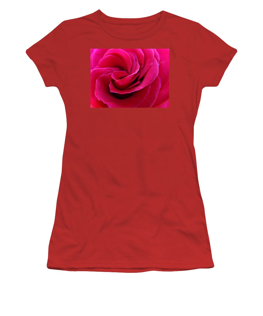 Rose Women's T-Shirt (Athletic Fit) featuring the photograph Office Art Rose Spiral Art Pink Roses Flowers Giclee Prints Baslee Troutman by Baslee Troutman