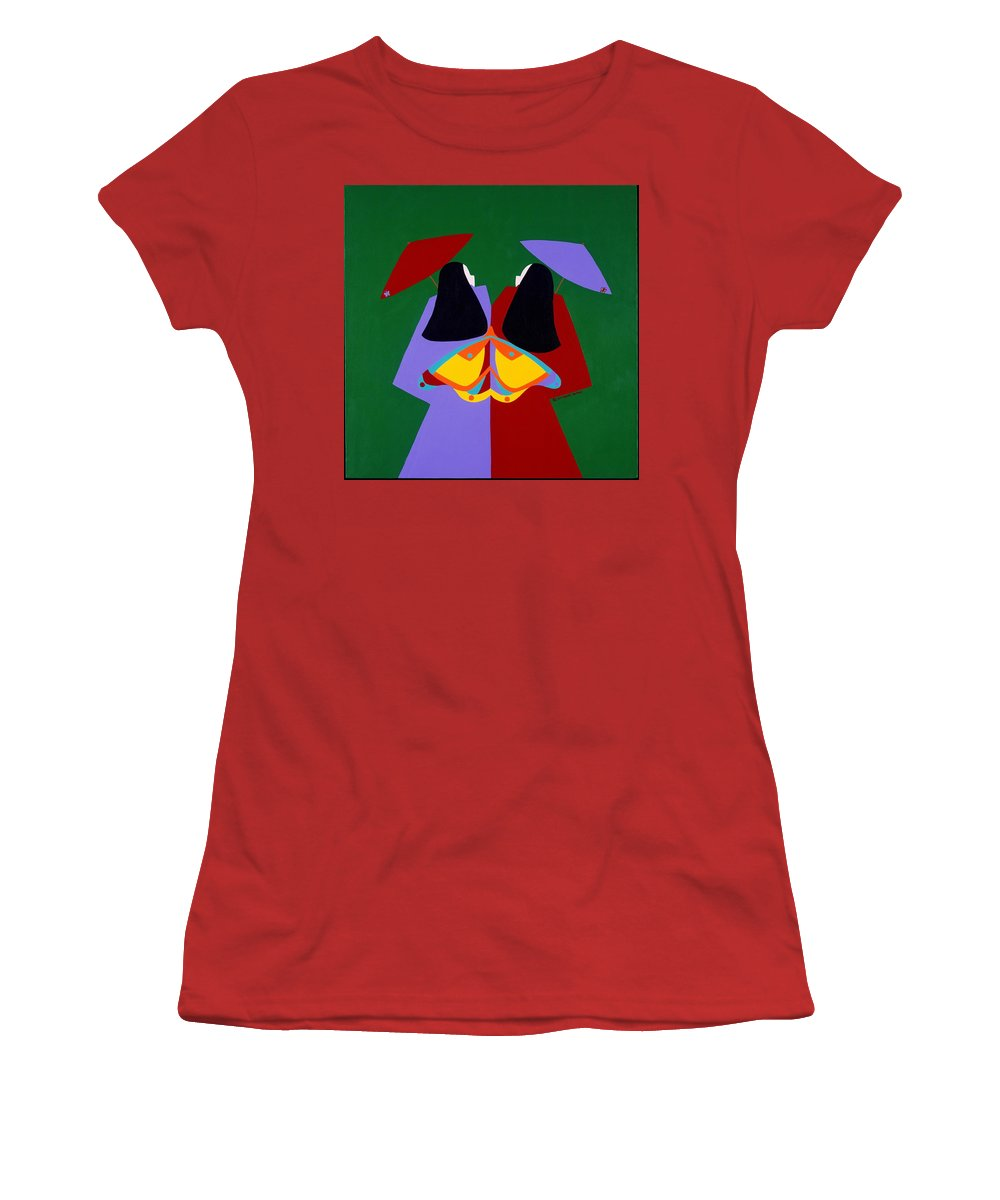 Asian Women's T-Shirt (Athletic Fit) featuring the painting Old Same by Synthia SAINT JAMES