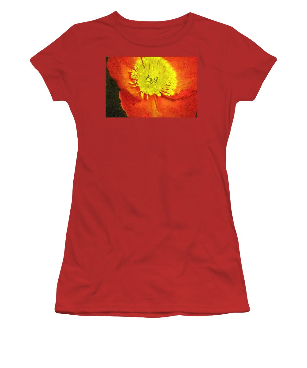 Poppy Women's T-Shirt (Athletic Fit) featuring the photograph Orange Poppy by Donna Bentley