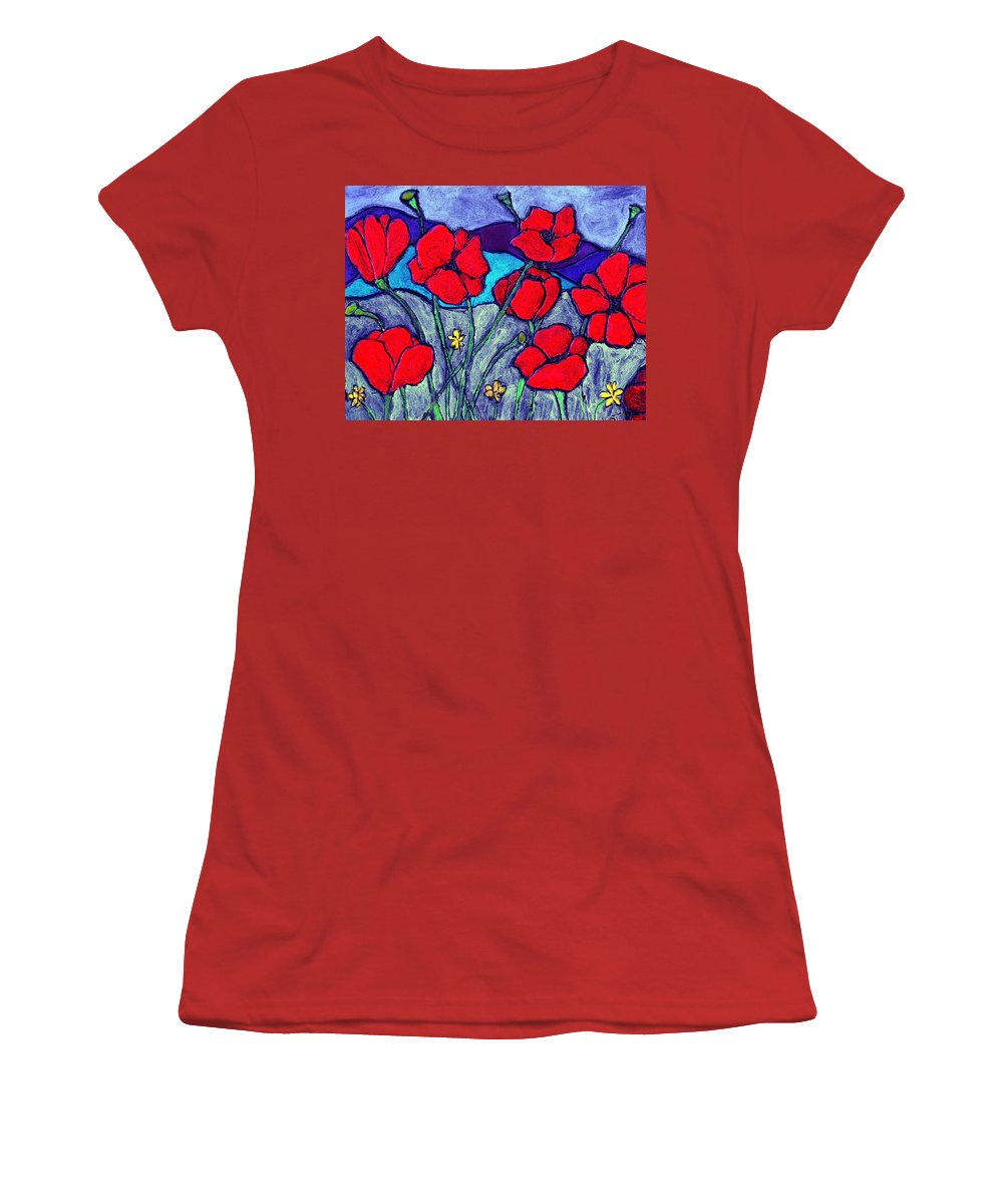 Flowers Women's T-Shirt (Athletic Fit) featuring the painting Orange Red Poppies by Wayne Potrafka