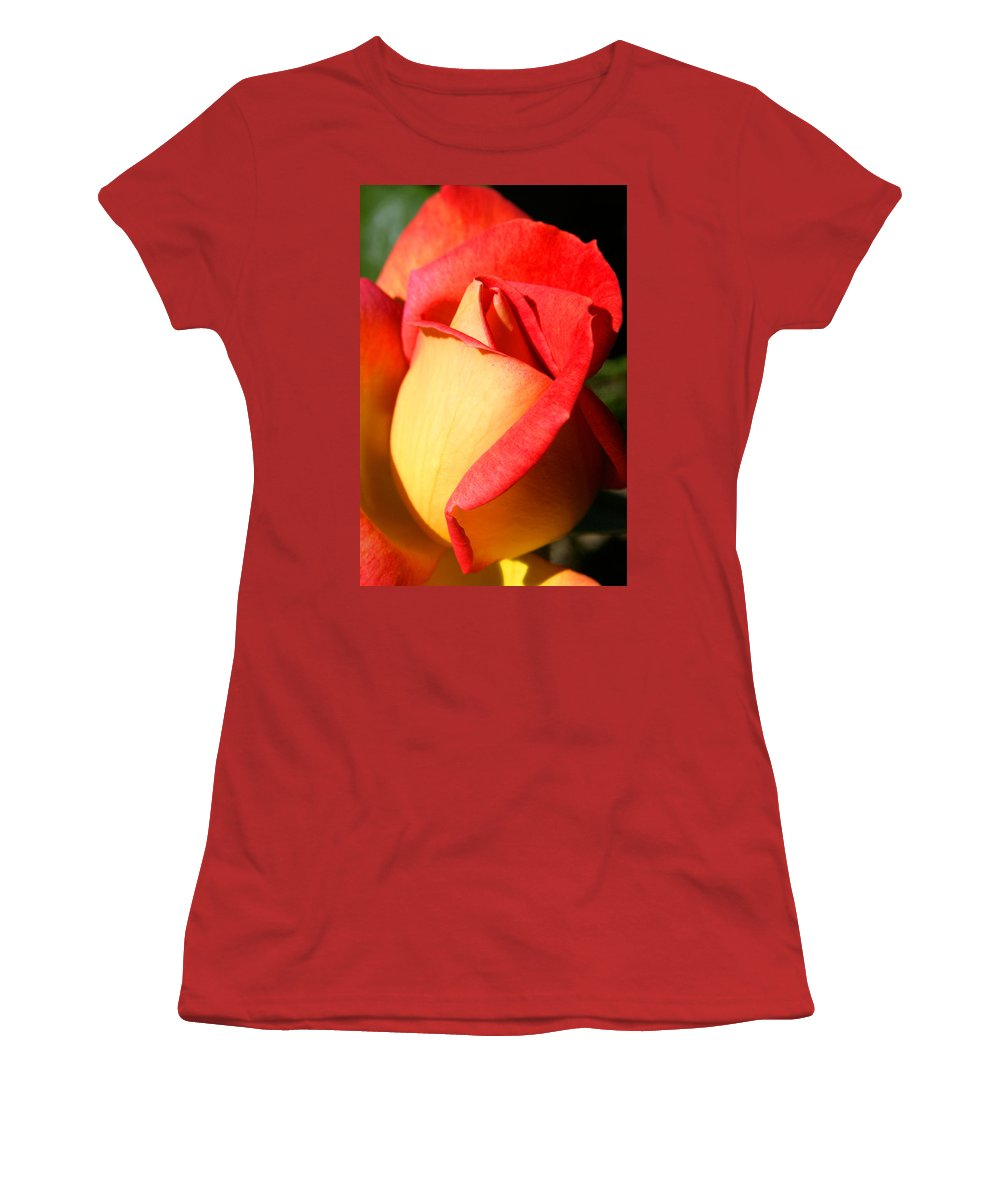 Orange Rosebud Women's T-Shirt (Athletic Fit) featuring the photograph Orange Rosebud by Ralph A Ledergerber-Photography