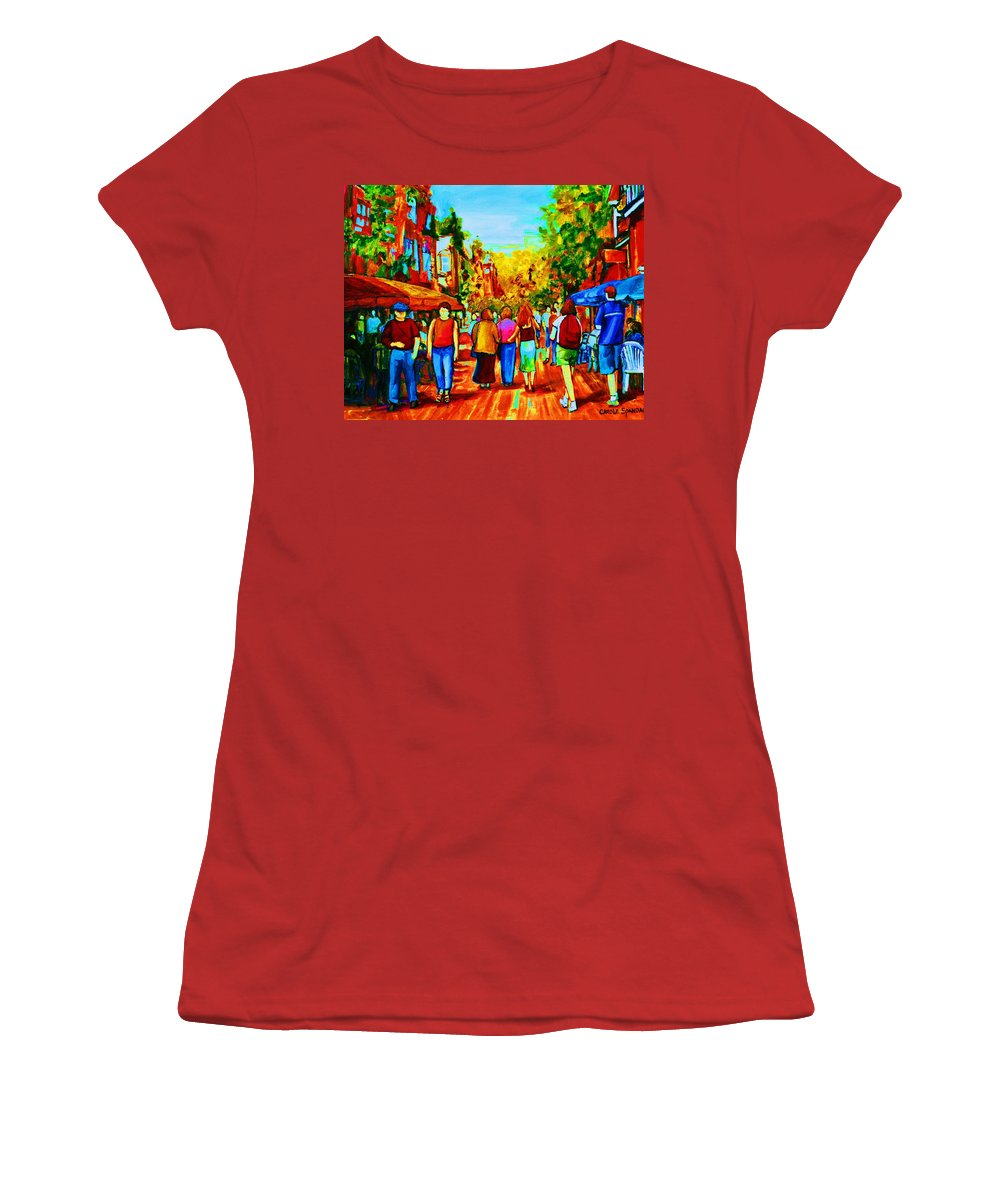 Cafe Scenes Women's T-Shirt (Athletic Fit) featuring the painting Parisian Cafes by Carole Spandau