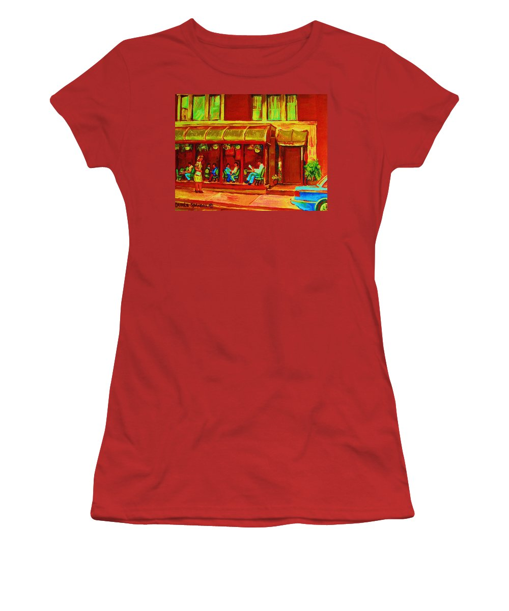 Montreal Women's T-Shirt (Athletic Fit) featuring the painting Park Avenue Montreal Cafe Scene by Carole Spandau