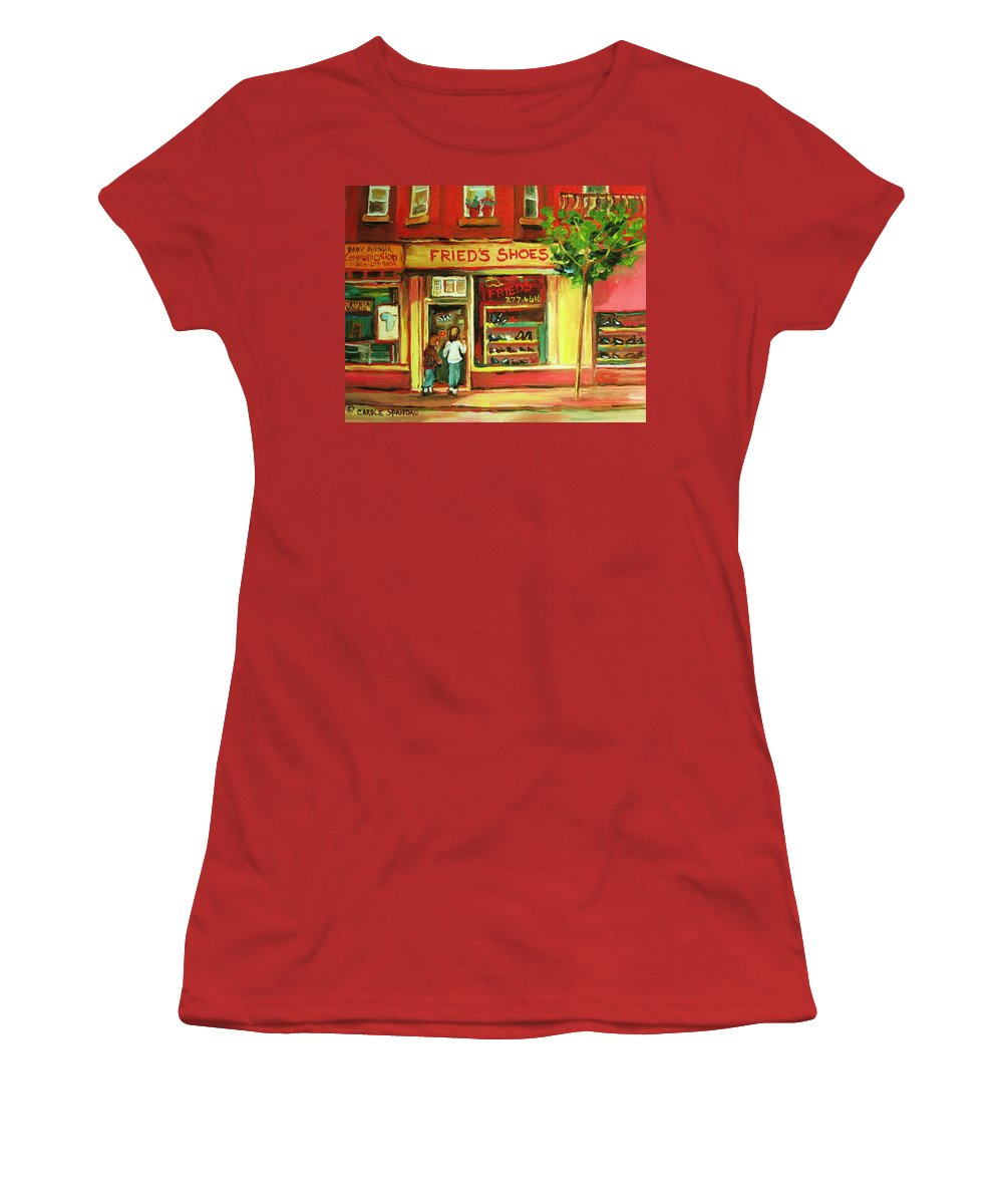 Montreal Women's T-Shirt (Athletic Fit) featuring the painting Park Avenue Shoe Store by Carole Spandau
