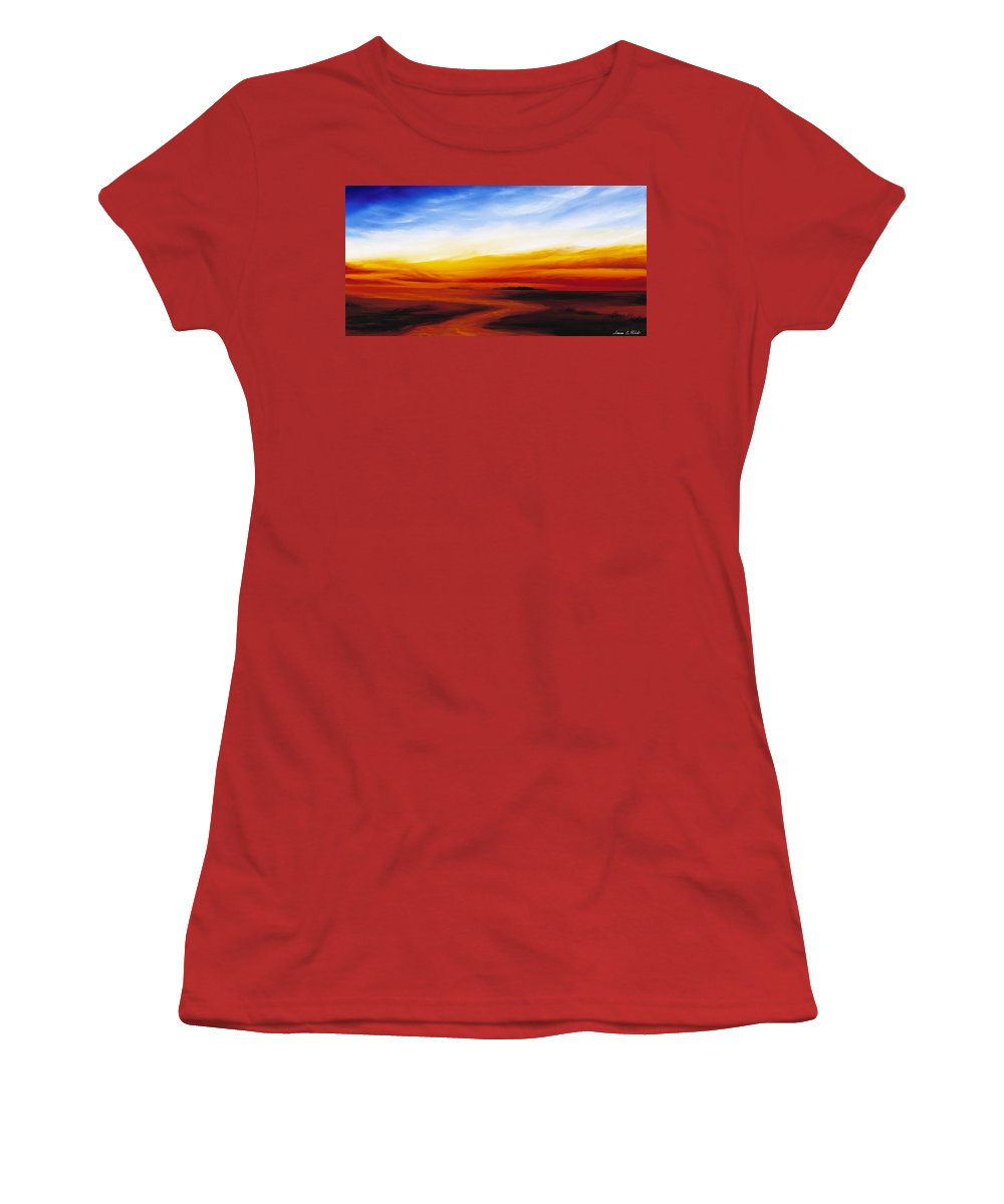 Sunrise Women's T-Shirt (Athletic Fit) featuring the painting Path To Redemption by James Christopher Hill