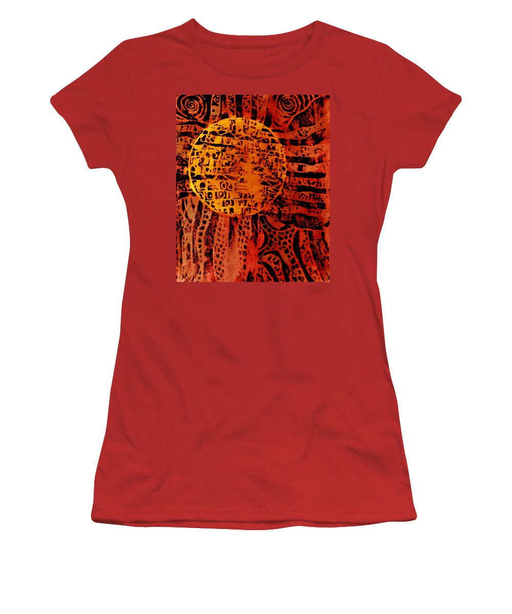 Abstract Women's T-Shirt (Athletic Fit) featuring the painting Patterns In The Sun by Wayne Potrafka