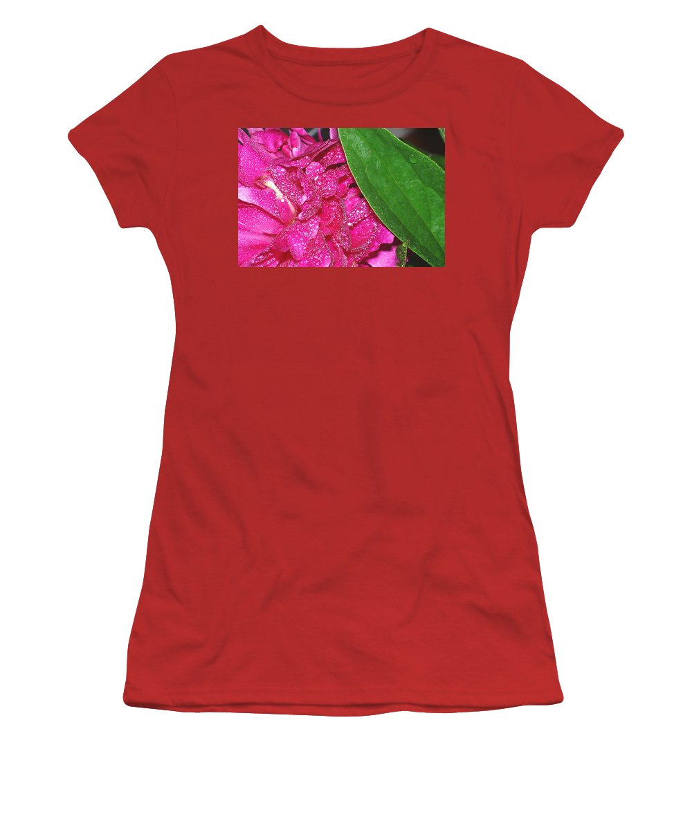 Peony Women's T-Shirt (Athletic Fit) featuring the photograph Peony And Leaf by Nancy Mueller