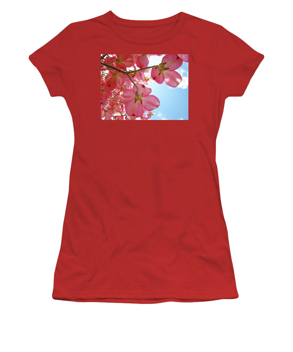 Dogwood Women's T-Shirt (Athletic Fit) featuring the photograph Pink Flowering Dogwood Tree Art Prints Blue Sky Baslee Troutman by Baslee Troutman