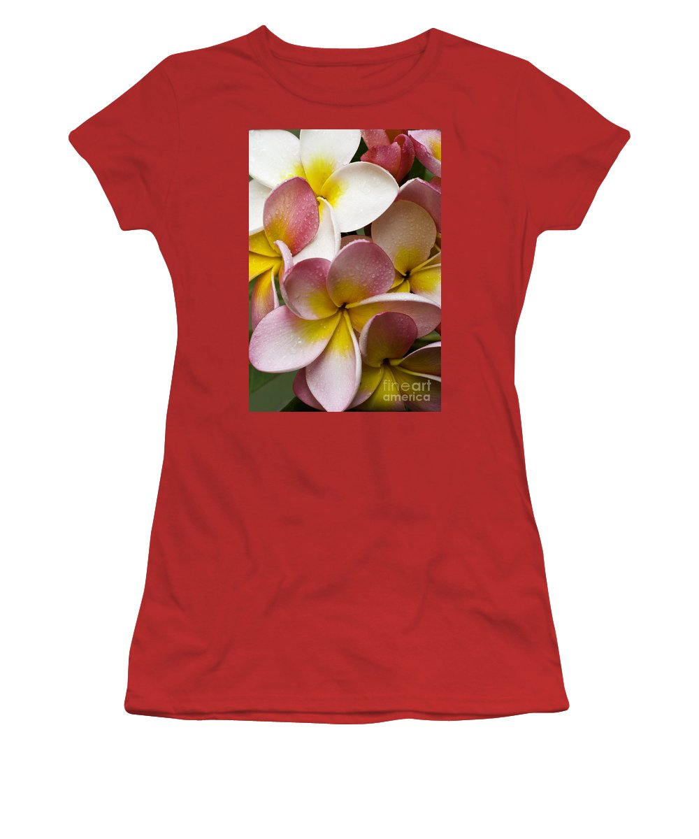 Pink Frangipani Women's T-Shirt (Athletic Fit) featuring the photograph Pink Frangipani by Avalon Fine Art Photography