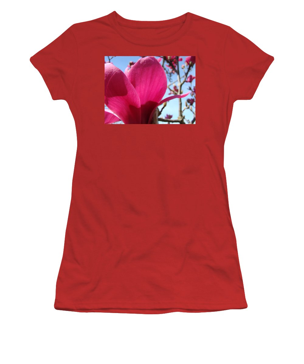 Magnolia Women's T-Shirt (Athletic Fit) featuring the photograph Pink Magnolia Flowers Magnolia Tree Spring Art by Baslee Troutman