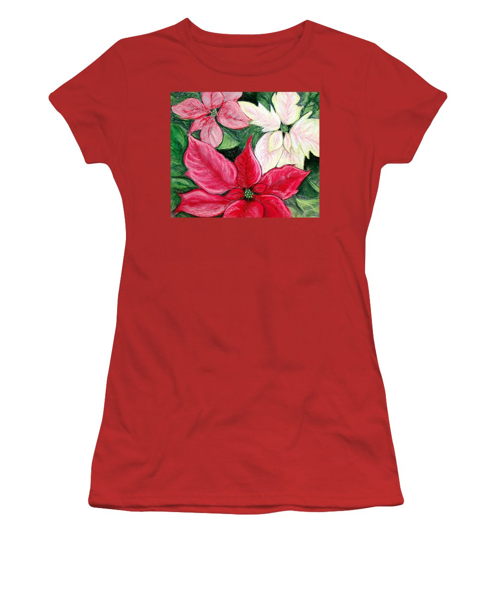 Poinsettia Women's T-Shirt (Athletic Fit) featuring the pastel Poinsettia Pastel by Nancy Mueller