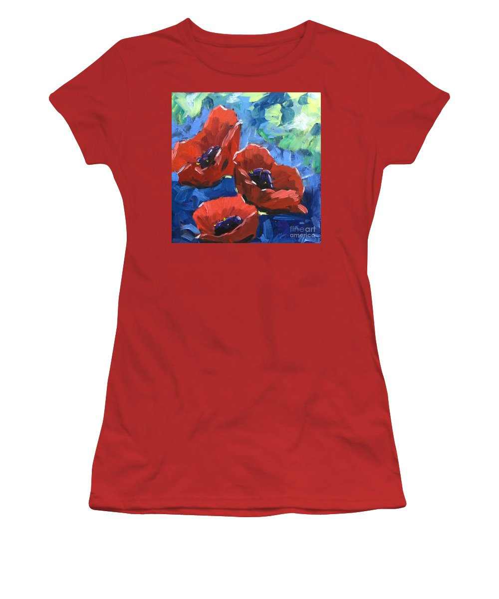 Art Women's T-Shirt (Athletic Fit) featuring the painting Poppies Splender by Richard T Pranke