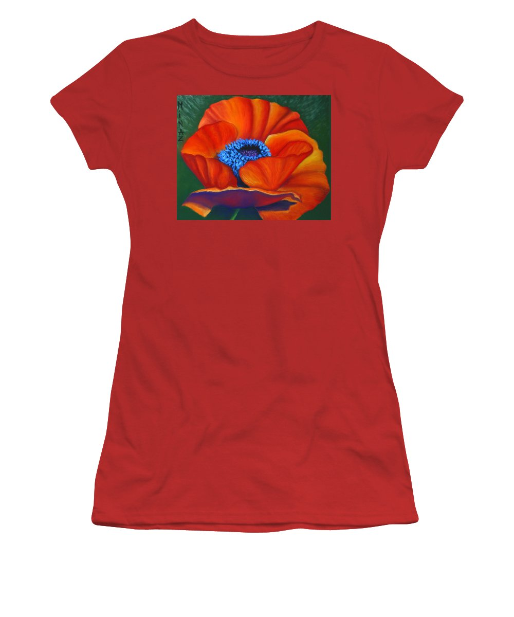Red Flower Women's T-Shirt (Athletic Fit) featuring the painting Poppy Pleasure by Minaz Jantz