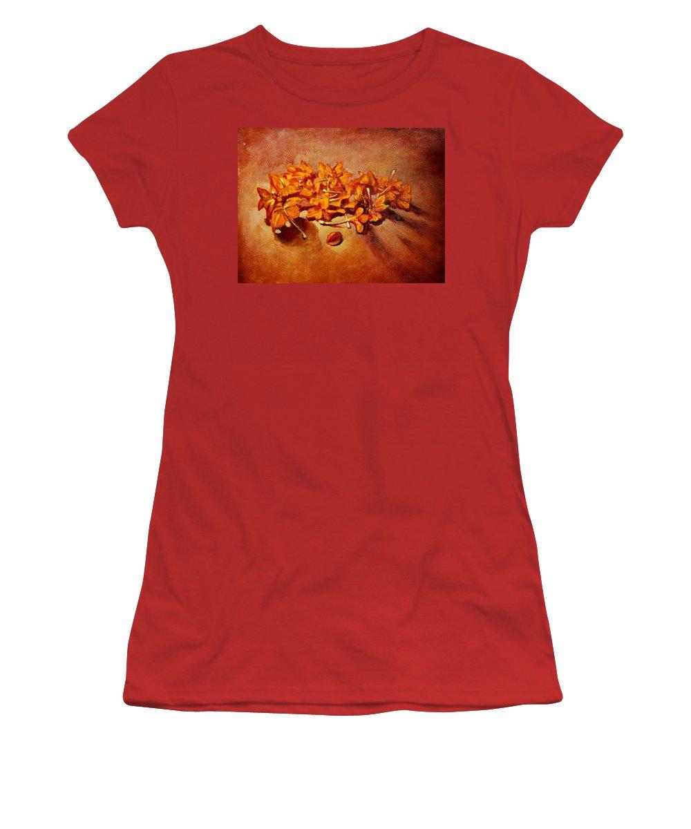Usha Women's T-Shirt (Athletic Fit) featuring the painting Pretty Little Orange Flowers - Kankaambaram by Usha Shantharam
