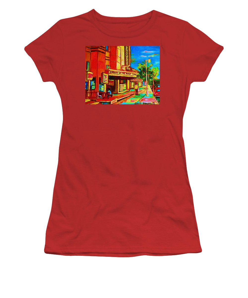 Pumperniks Women's T-Shirt (Athletic Fit) featuring the painting Pumperniks And The Snowdon Theatre by Carole Spandau