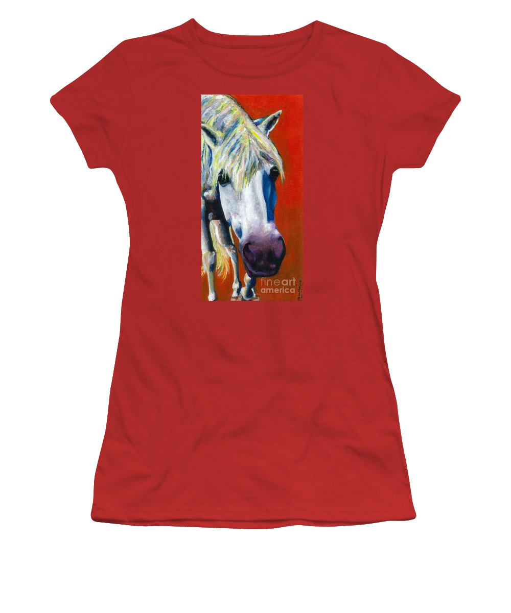 White Horse With Purple Nose Women's T-Shirt (Athletic Fit) featuring the painting Purple Velvet by Frances Marino
