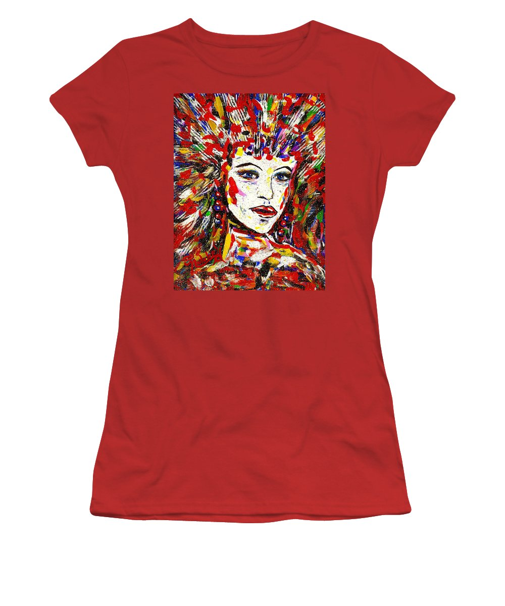 Abstract Art Women's T-Shirt (Athletic Fit) featuring the painting Rainbow by Natalie Holland