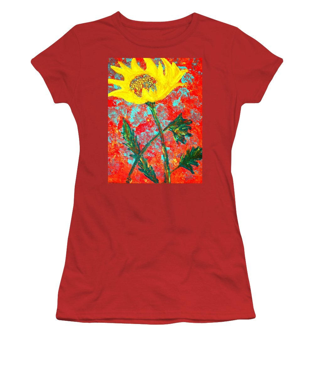Flower Women's T-Shirt (Athletic Fit) featuring the painting Reaching For The Sun by Wayne Potrafka