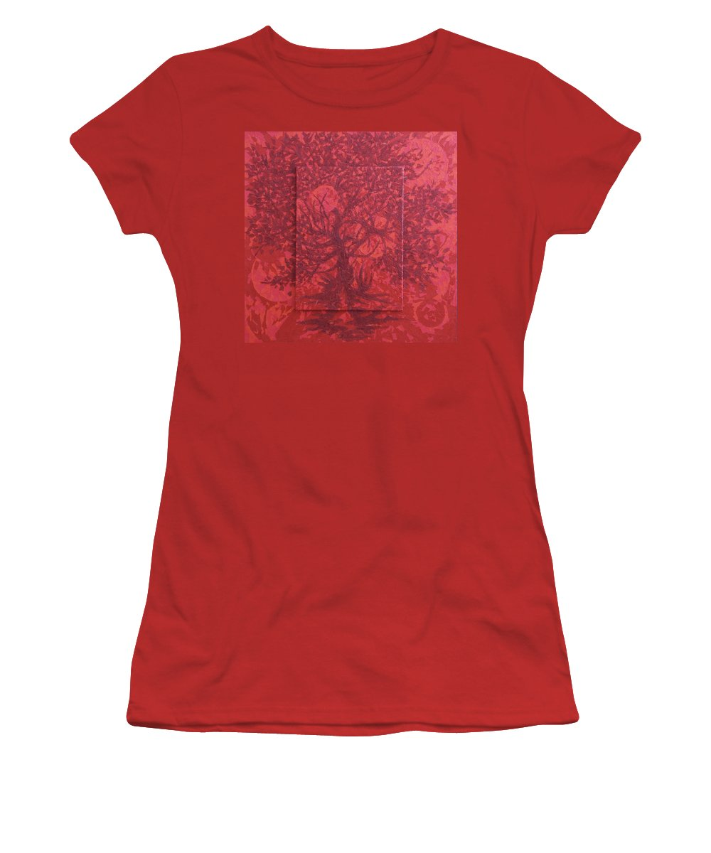 Red Women's T-Shirt (Athletic Fit) featuring the painting Red Planet by Judy Henninger