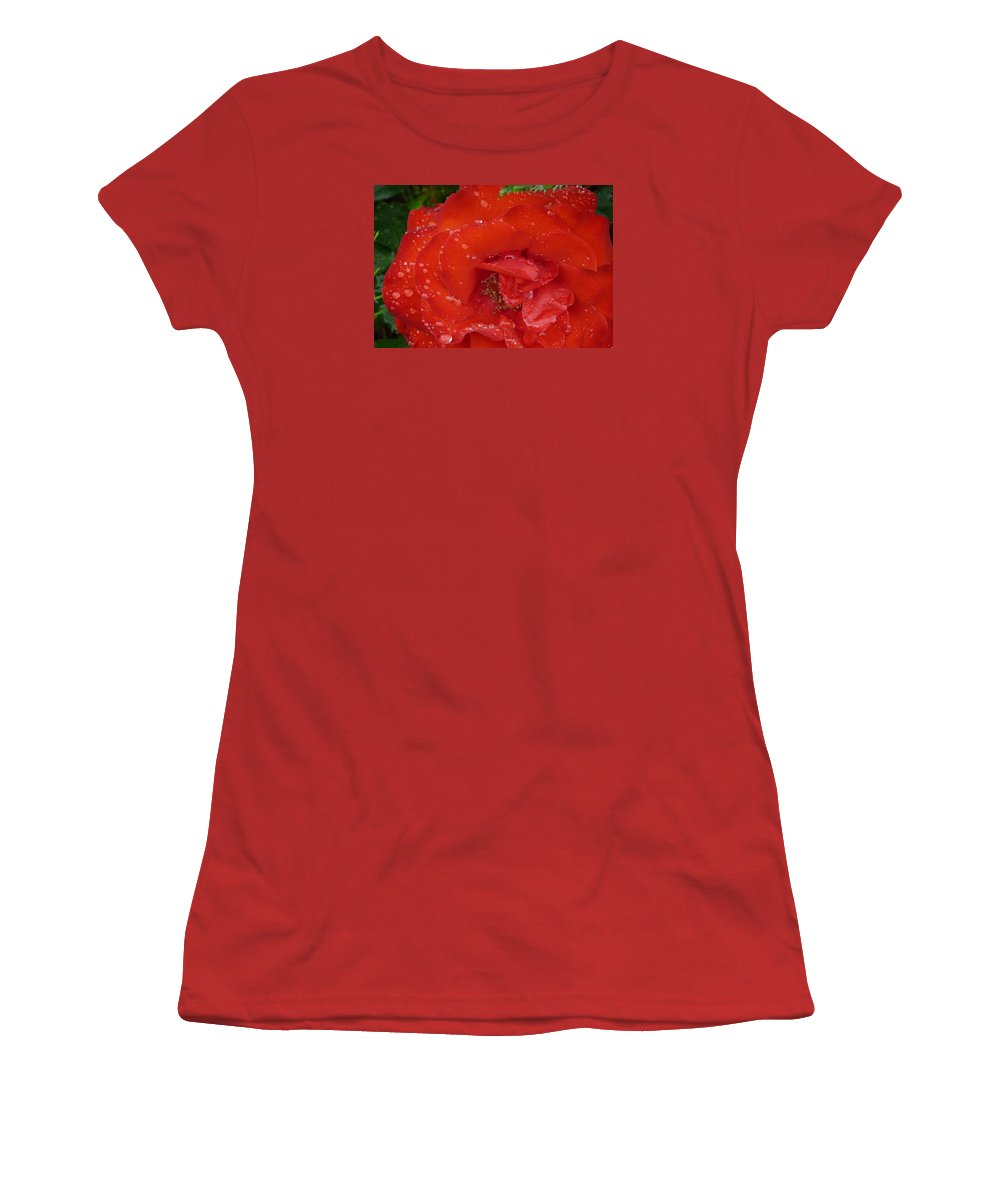 Rose Women's T-Shirt (Athletic Fit) featuring the photograph Red Rose After Rain by Valerie Ornstein