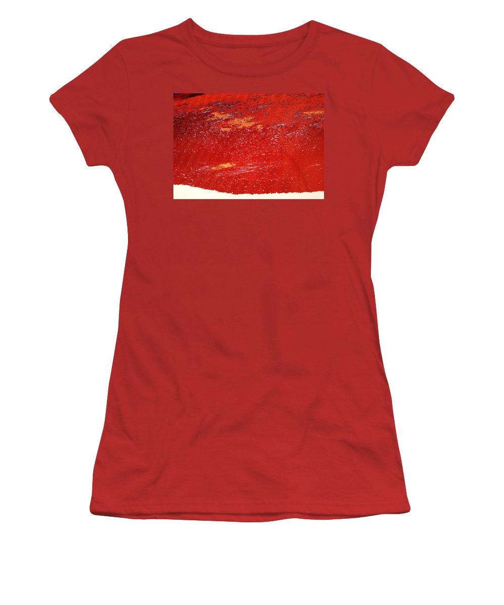 Red Women's T-Shirt (Athletic Fit) featuring the photograph Red Surf On The Beach by Ian MacDonald