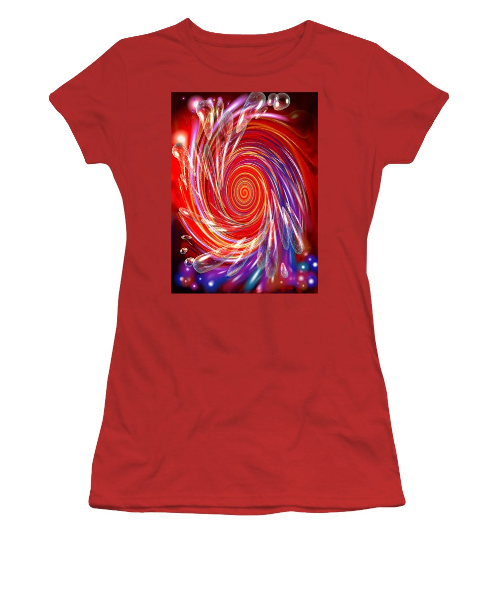 Red Women's T-Shirt (Athletic Fit) featuring the digital art Red Twirl by Natalie Holland