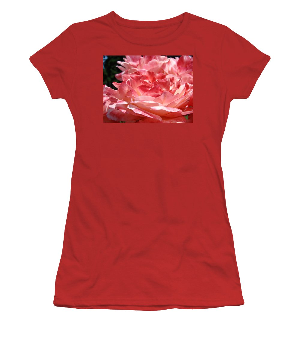Rose Women's T-Shirt (Athletic Fit) featuring the photograph Roses Cinnamon Pink Rose Flowers 3 Rose Garden Art Baslee Troutman by Baslee Troutman