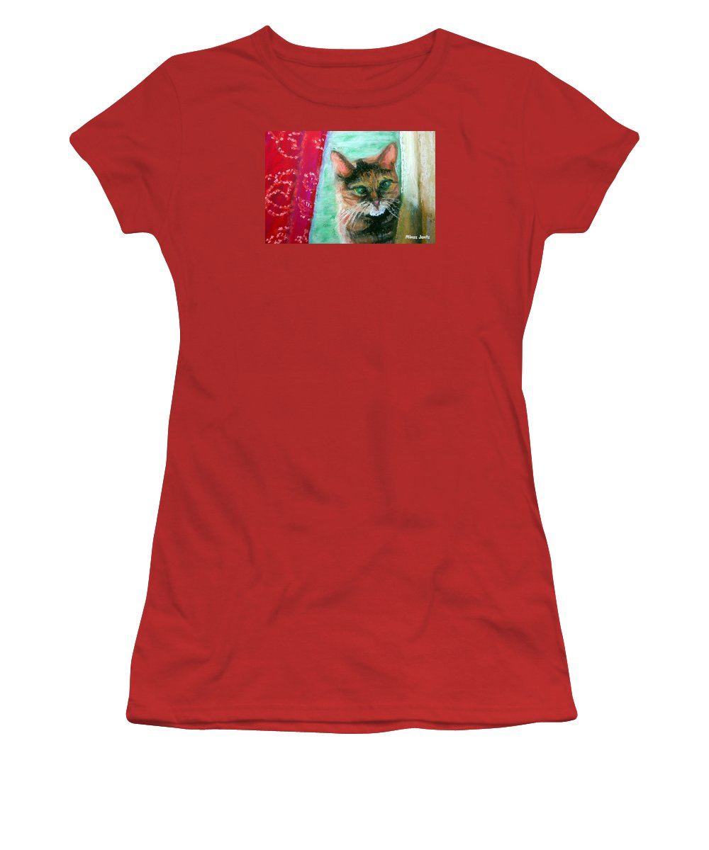 Cat Women's T-Shirt (Athletic Fit) featuring the painting Rosy In Color by Minaz Jantz