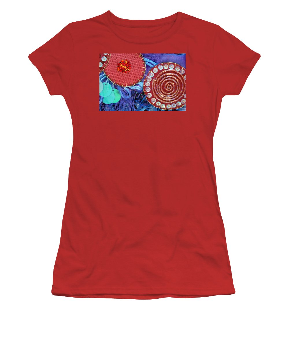 Women's T-Shirt (Athletic Fit) featuring the mixed media Ruby Slippers 5 by Judy Henninger