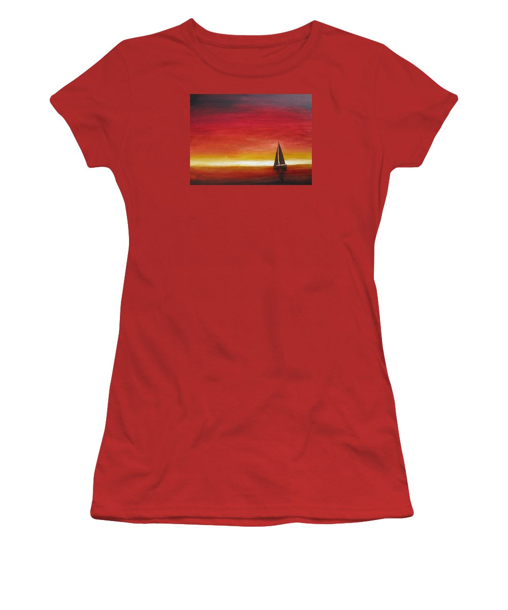 Sunset Women's T-Shirt (Athletic Fit) featuring the painting Sailors Delight by Karen Stark