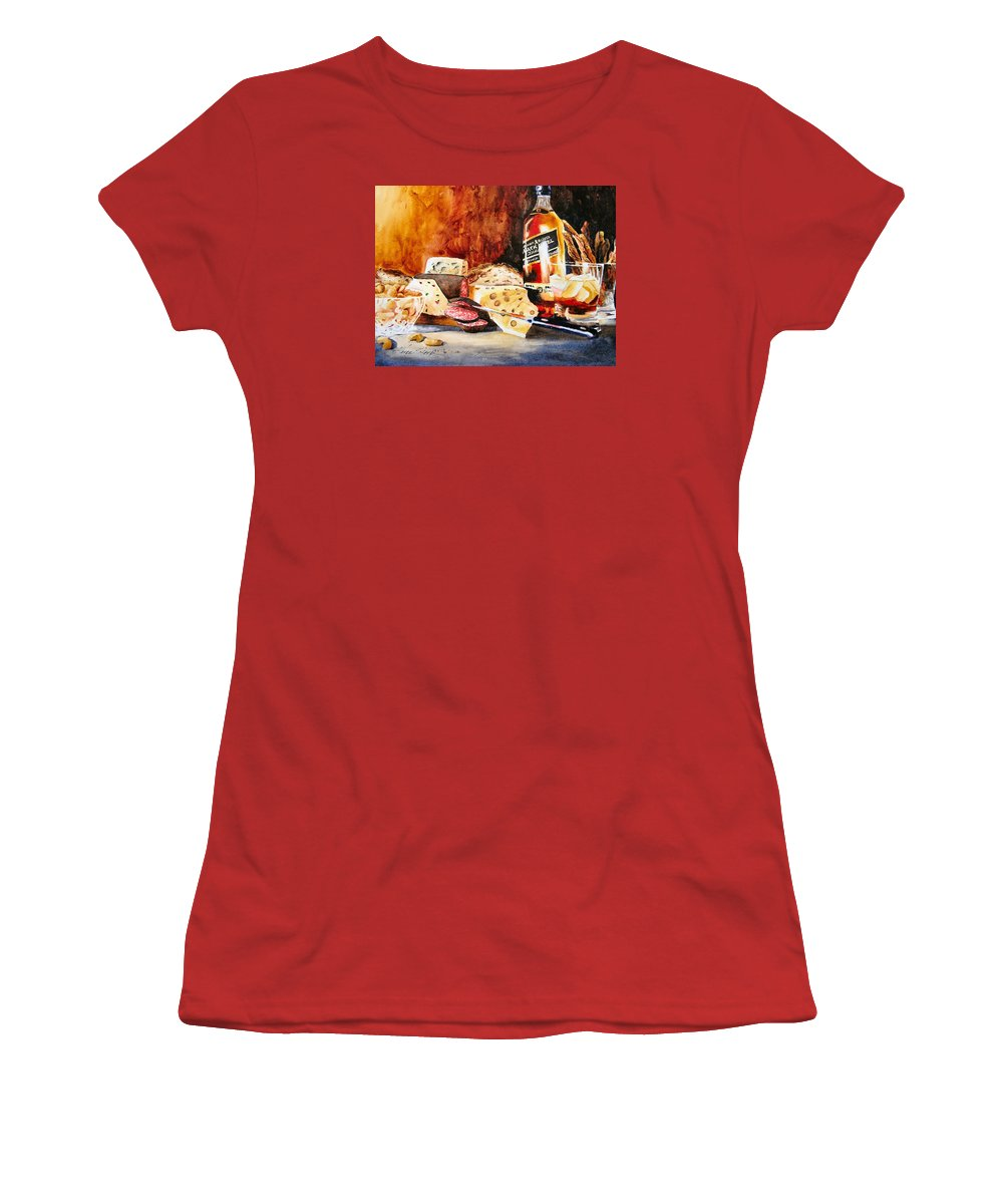 Scotch Women's T-Shirt (Athletic Fit) featuring the painting Spirited Indulgences by Karen Stark