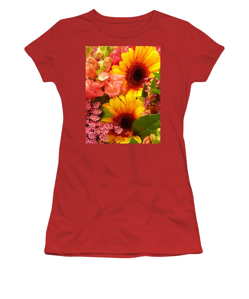 Roses Women's T-Shirt (Athletic Fit) featuring the photograph Spring Bouquet 1 by Amy Vangsgard