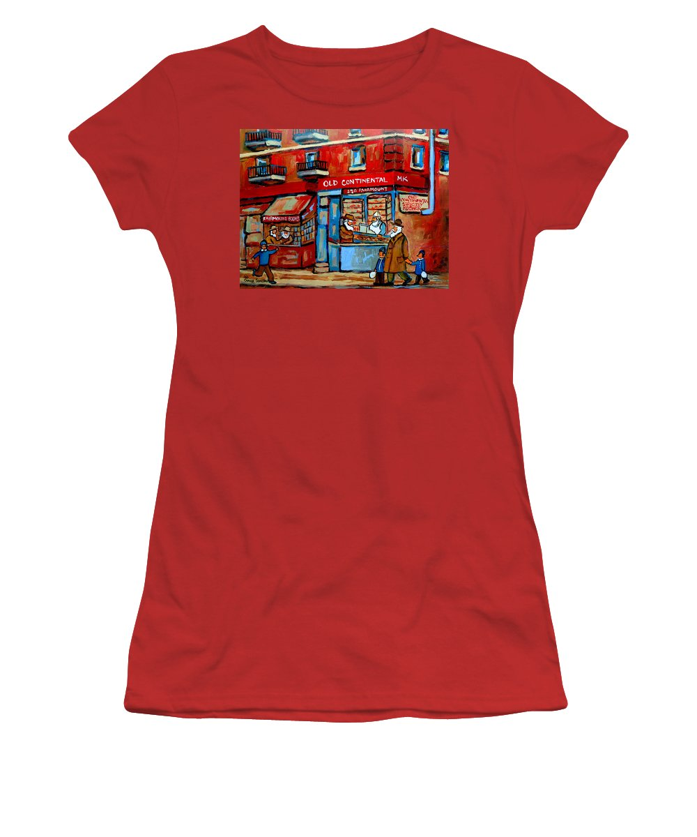 Old Continental On Fairmount Women's T-Shirt (Athletic Fit) featuring the painting Strictly Kosher by Carole Spandau