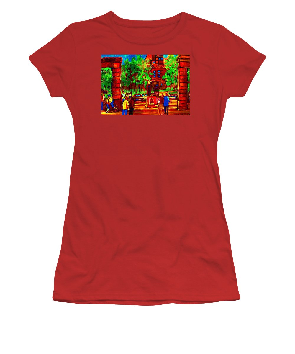 Mcgill University Women's T-Shirt (Athletic Fit) featuring the painting Summer At Mcgill University by Carole Spandau