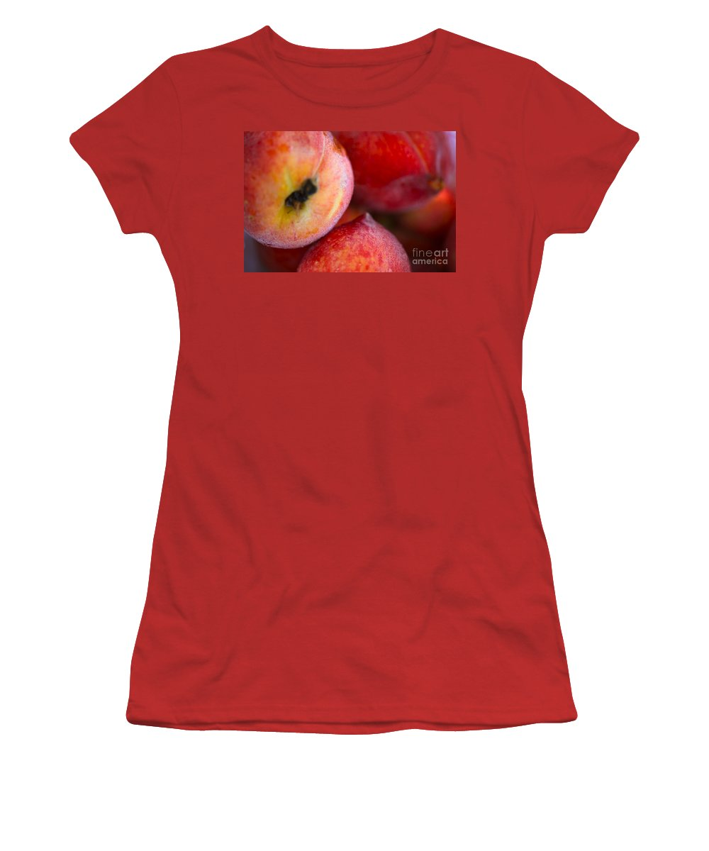 Peach Women's T-Shirt (Athletic Fit) featuring the photograph Summer Peaches by Nadine Rippelmeyer