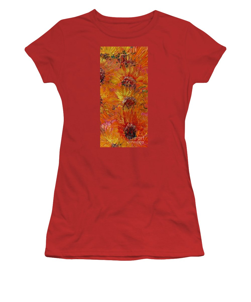 Sunflowers Women's T-Shirt (Athletic Fit) featuring the painting Textured Sunflowers by Nadine Rippelmeyer