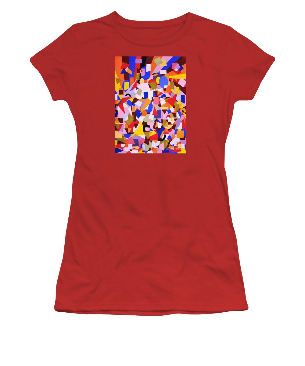 Abstract Women's T-Shirt (Athletic Fit) featuring the painting The Art Of Misplacing Things by Reb Frost