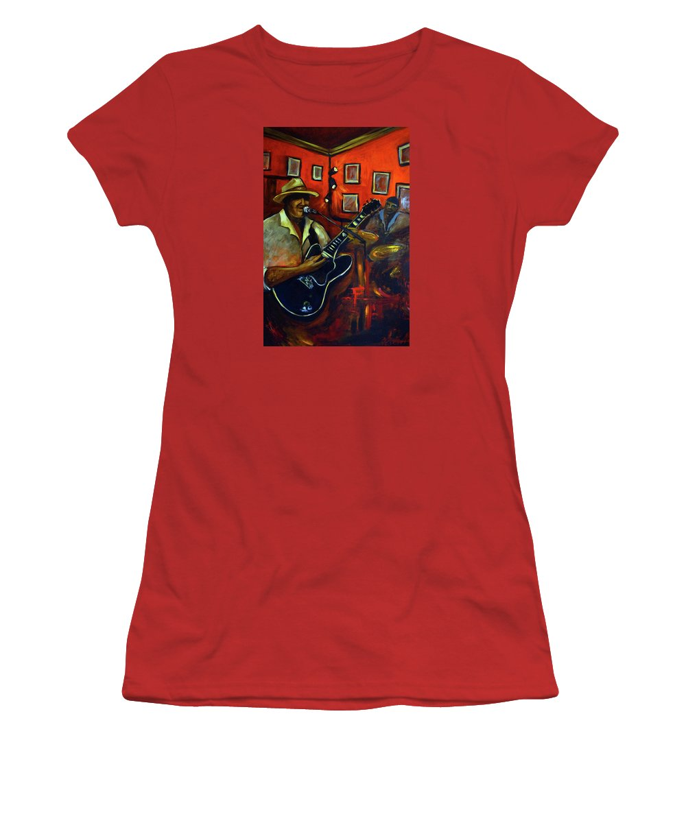 Blues Women's T-Shirt (Athletic Fit) featuring the painting The Back Room by Valerie Vescovi