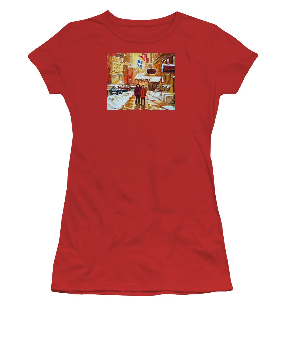 Streetscene Women's T-Shirt (Athletic Fit) featuring the painting The Ritz Carlton by Carole Spandau
