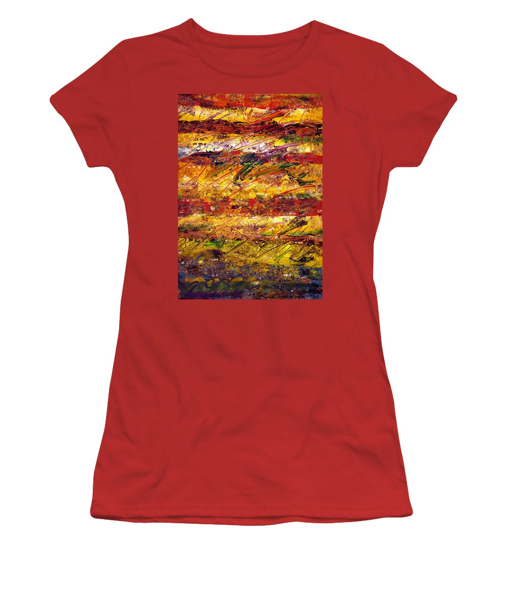 Abstract Women's T-Shirt (Athletic Fit) featuring the painting The Sun Rose One Step At A Time by Wayne Potrafka