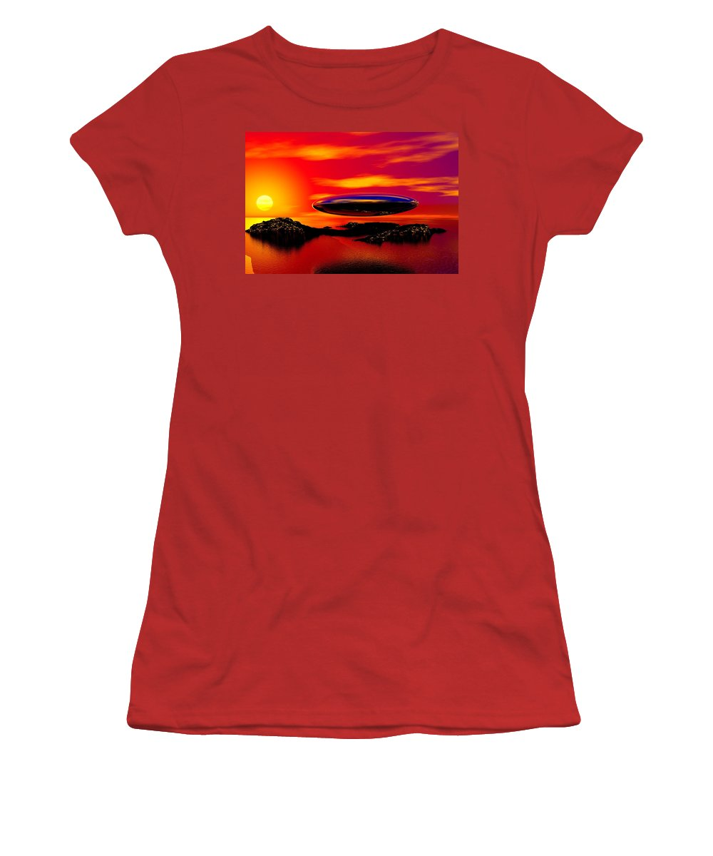 T Women's T-Shirt (Athletic Fit) featuring the digital art The Visitor by David Lane