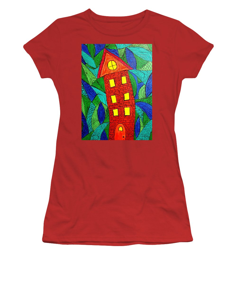 Geometric Patterns Women's T-Shirt (Athletic Fit) featuring the painting There Was A Crooked House by Wayne Potrafka