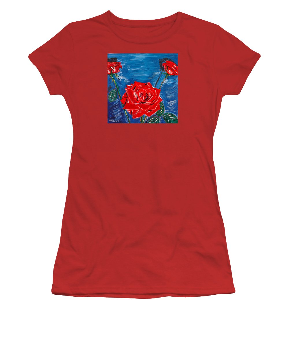 Rose Women's T-Shirt (Athletic Fit) featuring the painting Three Red Roses Four Leaves by Valerie Ornstein