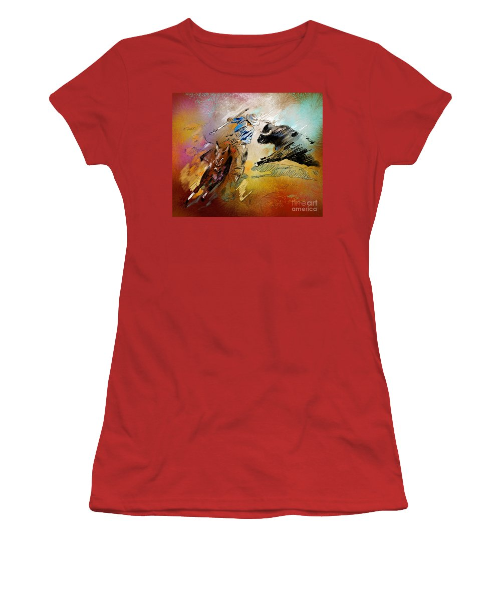Bullfight Women's T-Shirt (Athletic Fit) featuring the painting Toroscape 42 by Miki De Goodaboom