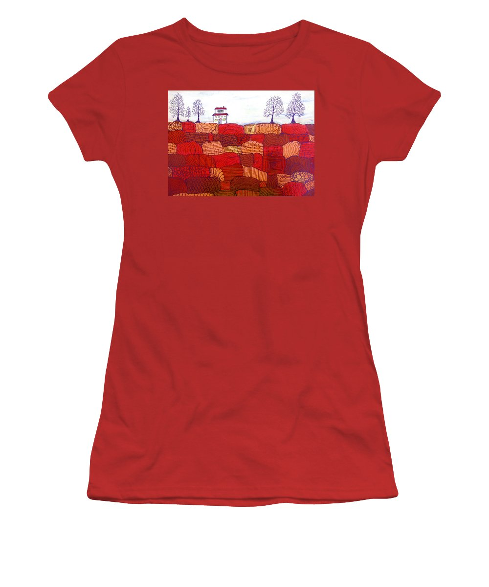 Farm Women's T-Shirt (Athletic Fit) featuring the painting Tree Farm by Wayne Potrafka