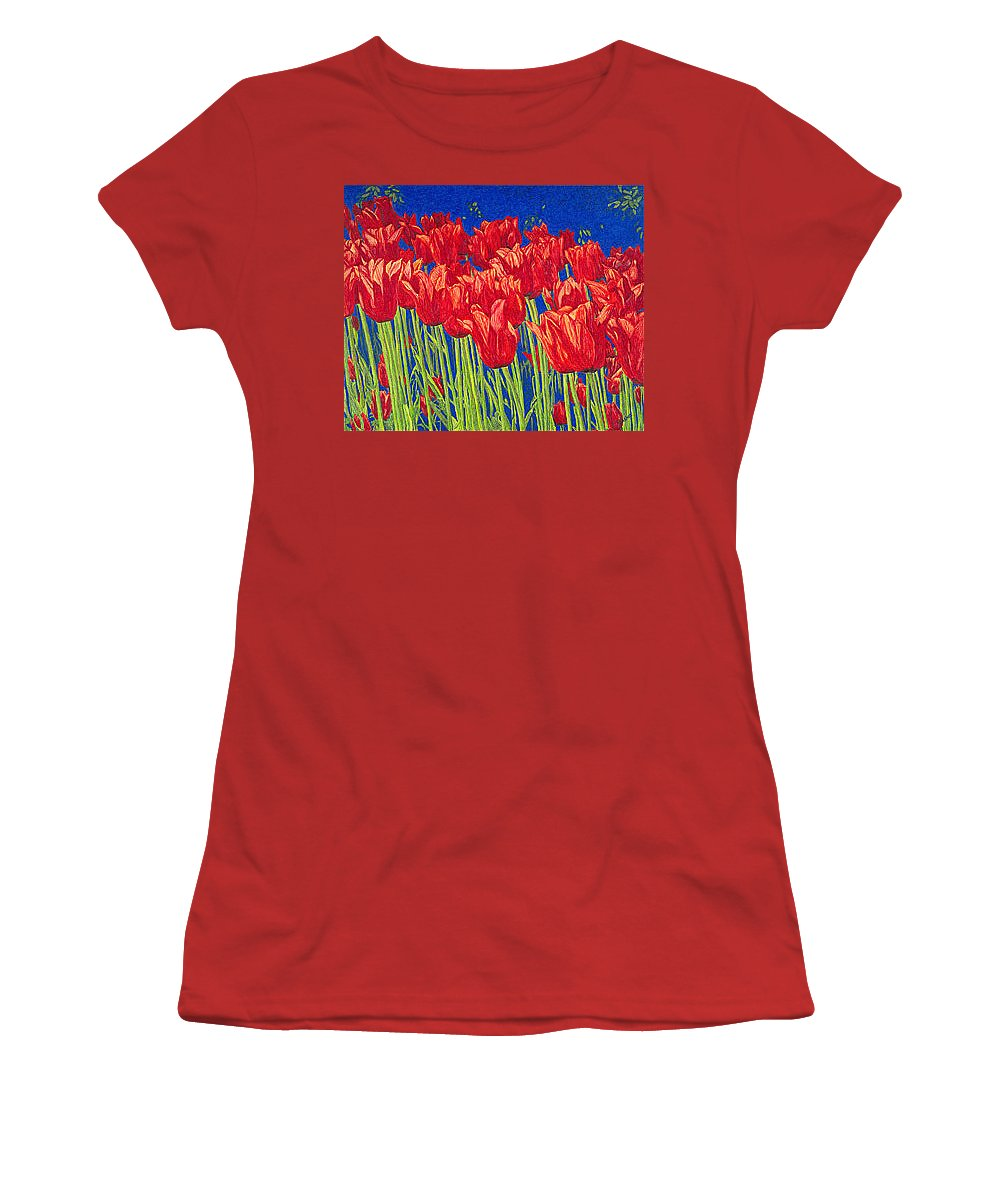 Tulips Women's T-Shirt (Athletic Fit) featuring the drawing Tulips Tulip Flowers Fine Art Print Giclee High Quality Exceptional Color Garden Nature Botanical by Baslee Troutman